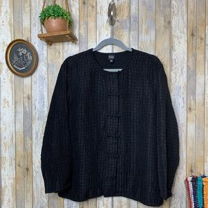 Eileen Fisher Black Jacquard Button Down Cardigan